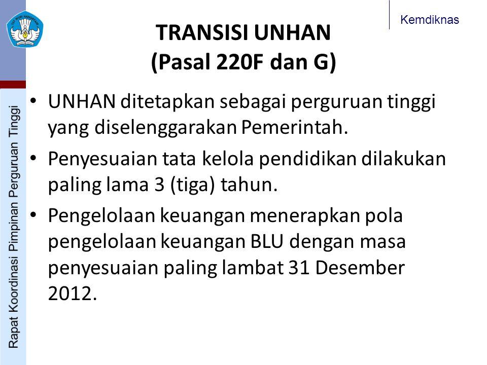 Kemdiknas TRANSISI UNHAN (Pasal 220F dan G) UNHAN ditetapkan sebagai perguruan tinggi yang diselenggarakan Pemerintah. Penyesuaian tata kelola pendidi