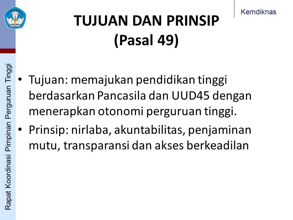 Kemdiknas TUJUAN DAN PRINSIP (Pasal 49) Tujuan: memajukan pendidikan tinggi berdasarkan Pancasila dan UUD45 dengan menerapkan otonomi perguruan tinggi