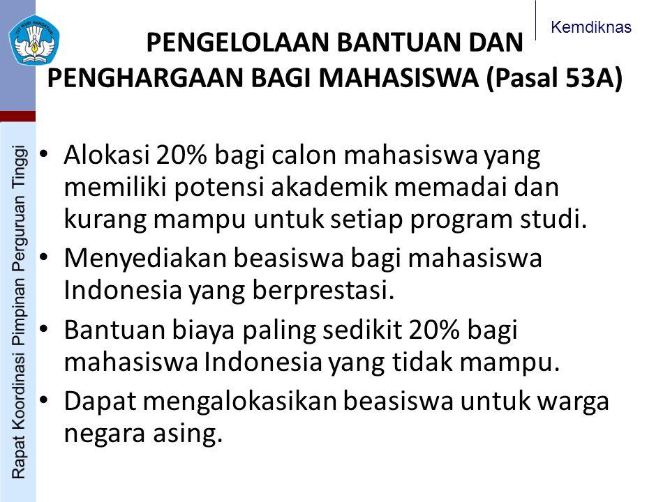 Kemdiknas PENGELOLAAN BANTUAN DAN PENGHARGAAN BAGI MAHASISWA (Pasal 53A) Alokasi 20% bagi calon mahasiswa yang memiliki potensi akademik memadai dan kurang mampu untuk setiap program studi.