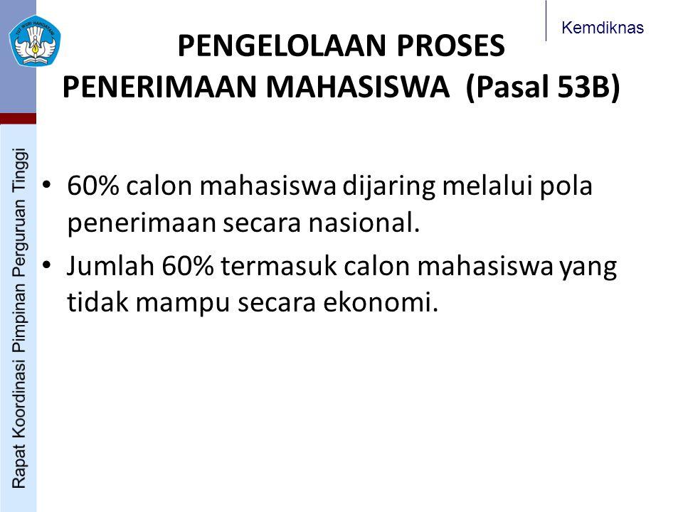 Kemdiknas PENGELOLAAN PROSES PENERIMAAN MAHASISWA (Pasal 53B) 60% calon mahasiswa dijaring melalui pola penerimaan secara nasional. Jumlah 60% termasu