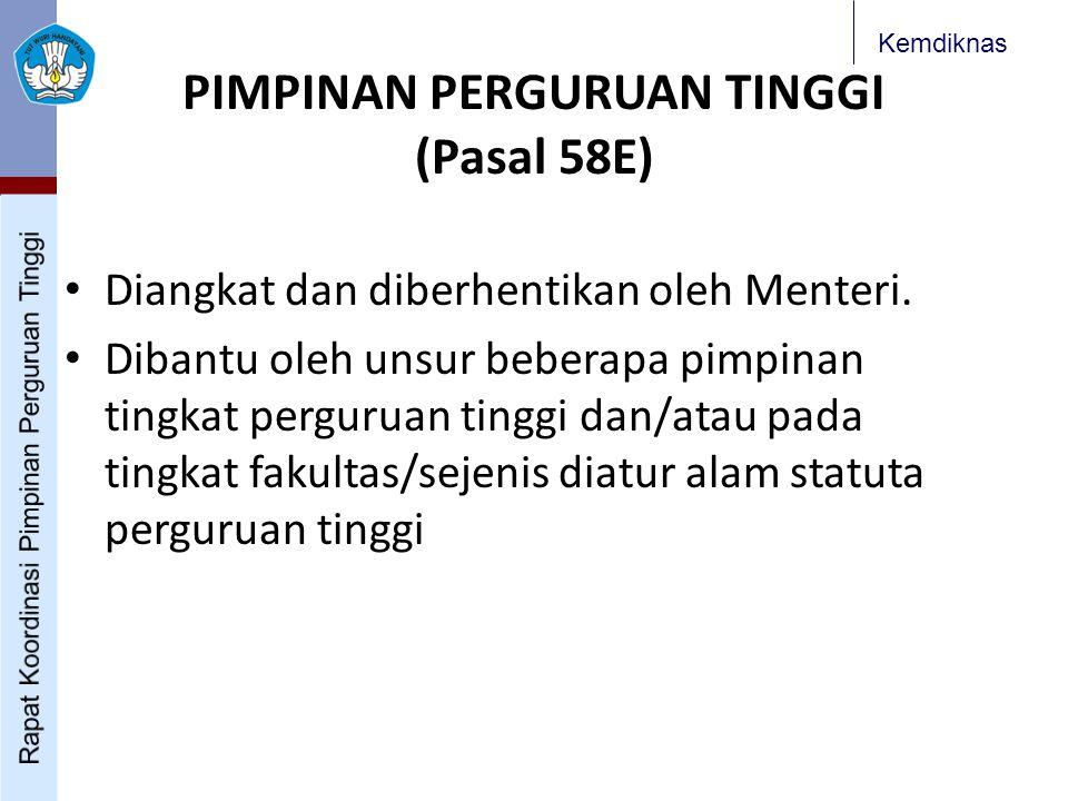 Kemdiknas PIMPINAN PERGURUAN TINGGI (Pasal 58E) Diangkat dan diberhentikan oleh Menteri.