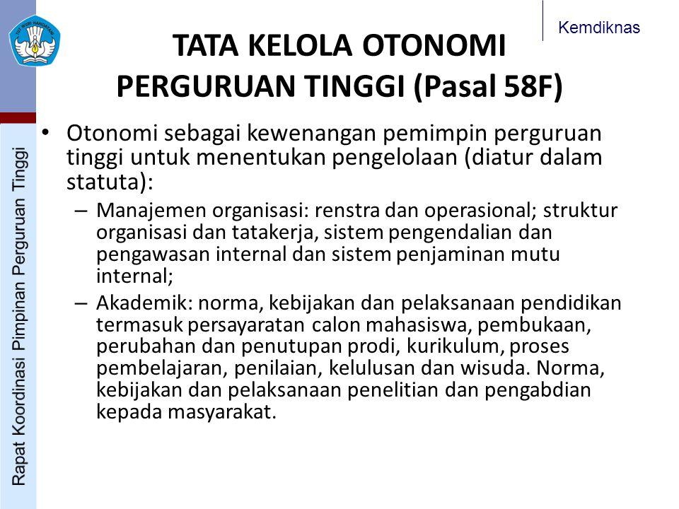 Kemdiknas TATA KELOLA OTONOMI PERGURUAN TINGGI (Pasal 58F) Otonomi sebagai kewenangan pemimpin perguruan tinggi untuk menentukan pengelolaan (diatur d