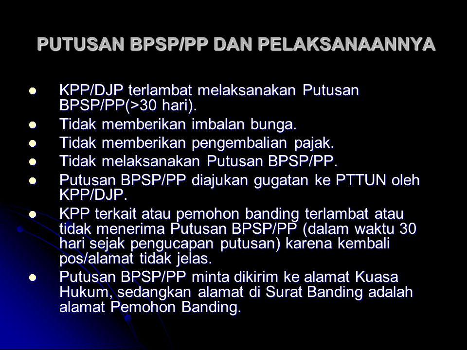 PUTUSAN BPSP/PP DAN PELAKSANAANNYA PUTUSAN BPSP/PP DAN PELAKSANAANNYA KPP/DJP terlambat melaksanakan Putusan BPSP/PP(>30 hari). KPP/DJP terlambat mela