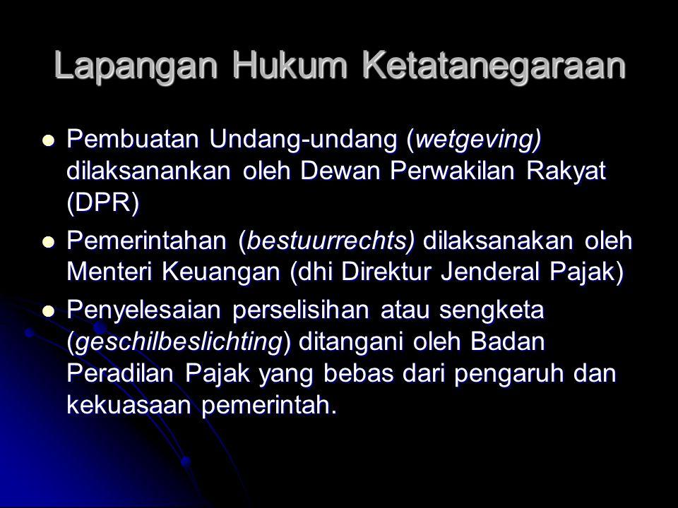 Lapangan Hukum Ketatanegaraan Pembuatan Undang-undang (wetgeving) dilaksanankan oleh Dewan Perwakilan Rakyat (DPR) Pembuatan Undang-undang (wetgeving)