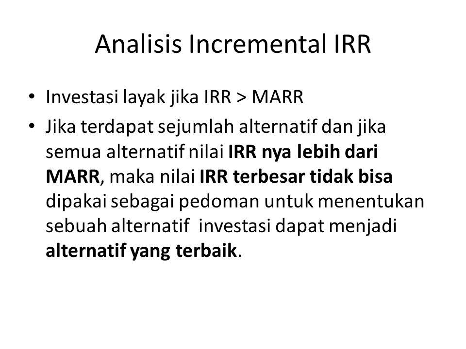 Analisis Incremental IRR Investasi layak jika IRR > MARR Jika terdapat sejumlah alternatif dan jika semua alternatif nilai IRR nya lebih dari MARR, ma
