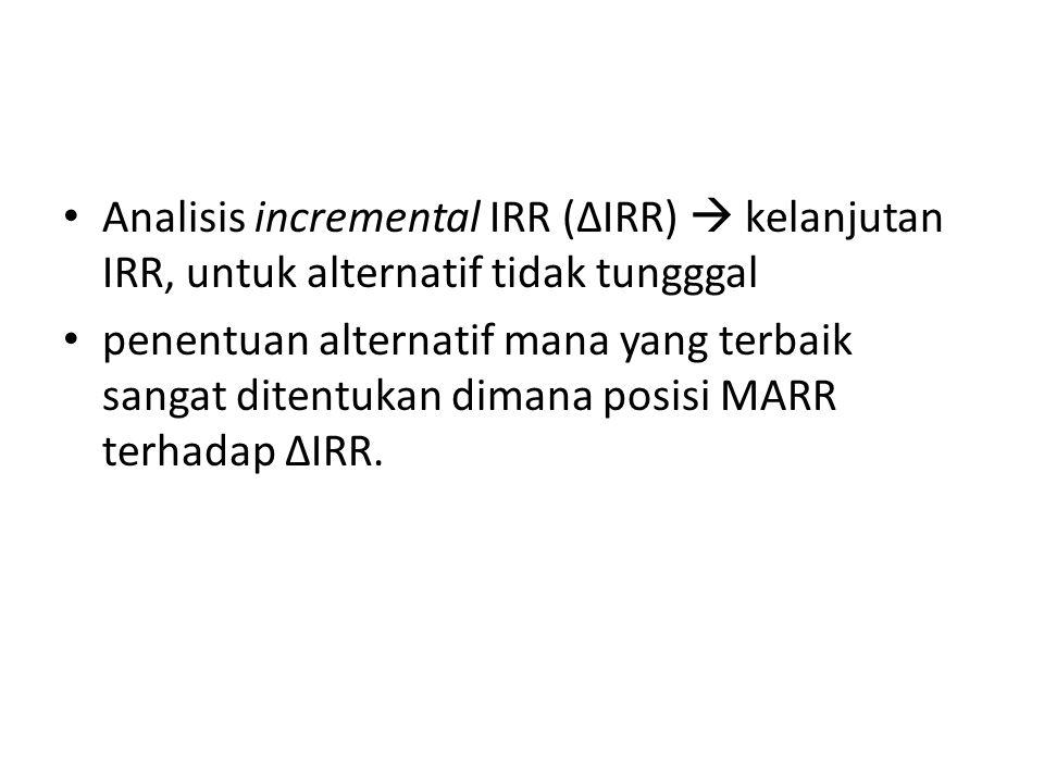 Analisis incremental IRR (ΔIRR)  kelanjutan IRR, untuk alternatif tidak tungggal penentuan alternatif mana yang terbaik sangat ditentukan dimana posi