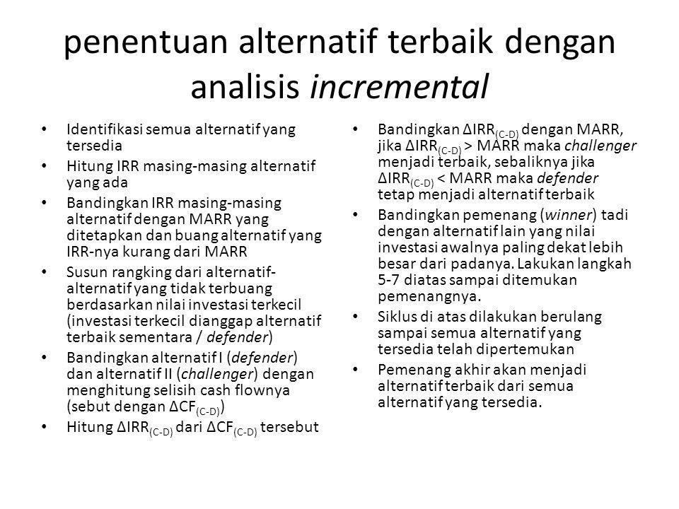 penentuan alternatif terbaik dengan analisis incremental Identifikasi semua alternatif yang tersedia Hitung IRR masing-masing alternatif yang ada Band