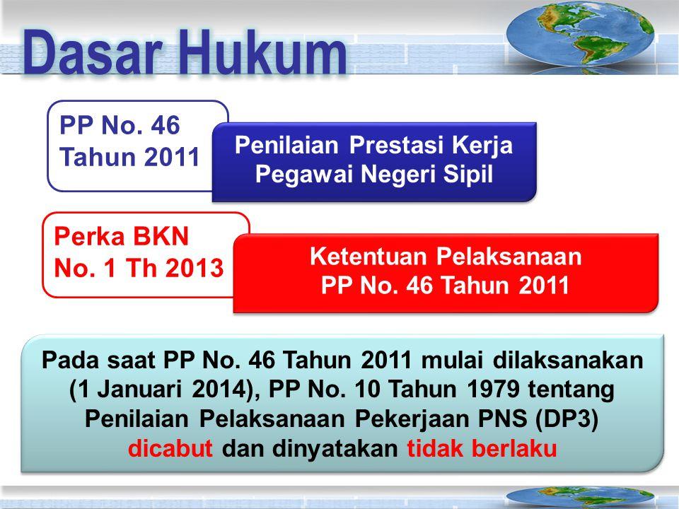 PP No. 46 Tahun 2011 Penilaian Prestasi Kerja Pegawai Negeri Sipil Perka BKN No. 1 Th 2013 Ketentuan Pelaksanaan PP No. 46 Tahun 2011 Ketentuan Pelaks