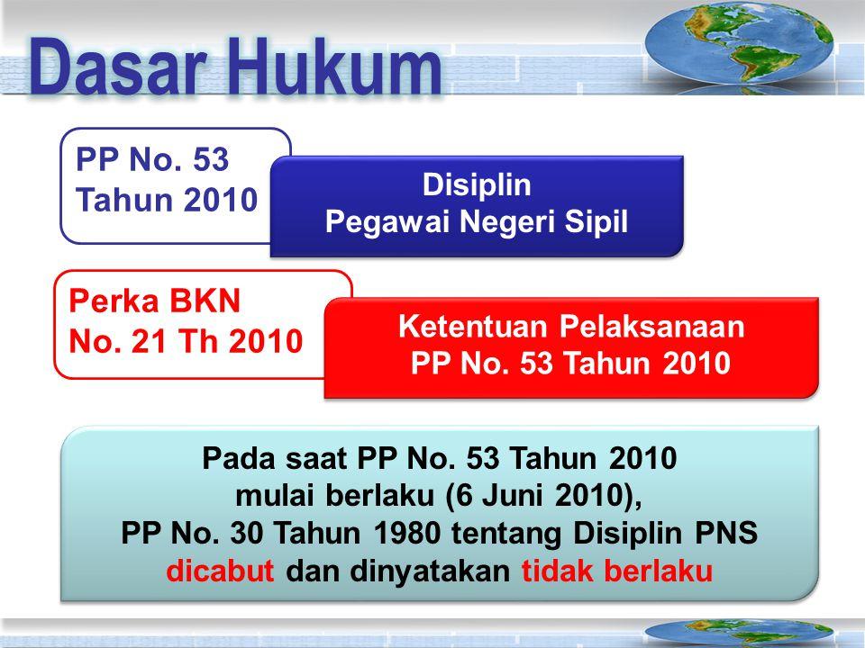 PP No. 53 Tahun 2010 Disiplin Pegawai Negeri Sipil Disiplin Pegawai Negeri Sipil Perka BKN No. 21 Th 2010 Ketentuan Pelaksanaan PP No. 53 Tahun 2010 K