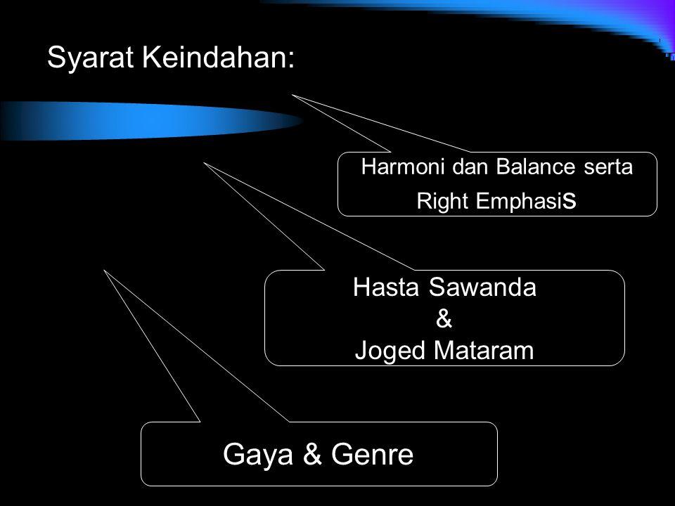 Syarat Keindahan: Harmoni dan Balance serta Right Emphasi s Hasta Sawanda & Joged Mataram Gaya & Genre