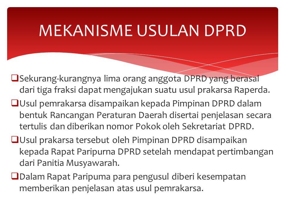  Sekurang-kurangnya lima orang anggota DPRD yang berasal dari tiga fraksi dapat mengajukan suatu usul prakarsa Raperda.  Usul pemrakarsa disampaikan