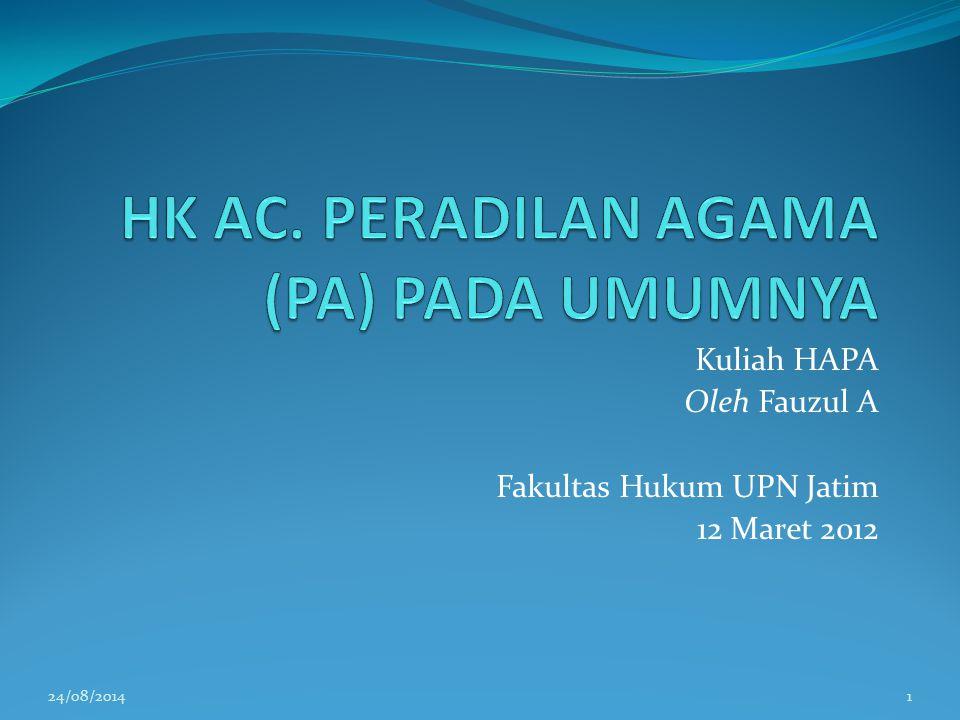 Kuliah HAPA Oleh Fauzul A Fakultas Hukum UPN Jatim 12 Maret 2012 24/08/20141
