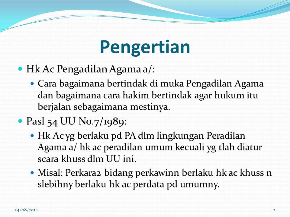 Pengecualian Istilah permohonan, tetapi sifatnya perkara contentius Perkara poligami Permohonan izin poligami (Pasal 4 (10) UUP) ada pihak pemohon dan termohon Perkara cerai talak Permohonan izin mentalak istri (Pasal 66 UU No.3/2006) ada pihak pemohon dan termohon 24/08/201423