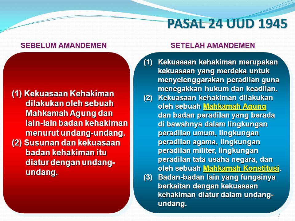 8 BAB IX: KEKUASAAN KEHAKIMAN Pasal 24A (1)Mahkamah Agung berwenang mengadili pada tingkat kasasi, menguji peraturan perundang-undangan di bawah undang- undang terhadap undang-undang, dan mempunyai wewenang lainnya yang diberikan oleh undang-undang.***) (2)… (3)… (4)… (5)…