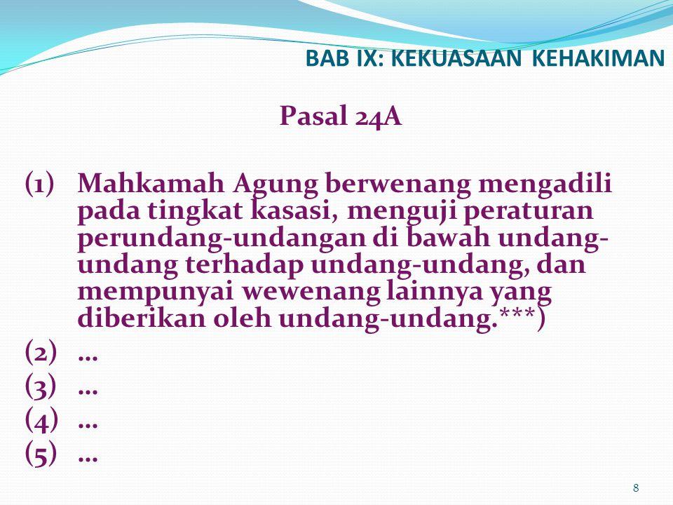Peradilan agama mrupakn salah satu pelaksana kekuasaan kehakiman bg rakyat pencari keadilan bg yg beragam Islam, mengenai perkara tertentu yg diatur dlm UU.