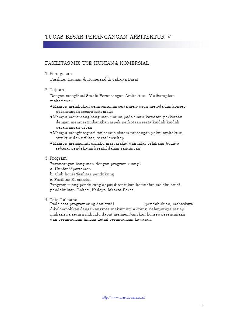 TUGAS BESAR PERANCANGAN ARSITEKTUR V FASILITAS MIX-USE: HUNIAN & KOMERSIAL 1. Penugasan Fasilitas Hunian & Komersial di Jakarta Barat 2. Tujuan Dengan