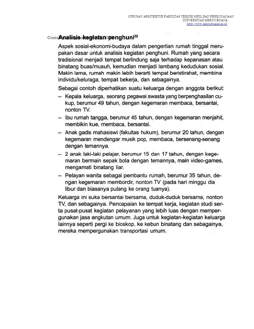 JURUSAN ARSITEKTUR FAKULTAS TEKNIK SIPIL DAN PERENCANAAN UNIVERSITAS MERCU BUANA http://www.mercubuana.ac.id Contoh pemrograman (Frick, 2003)