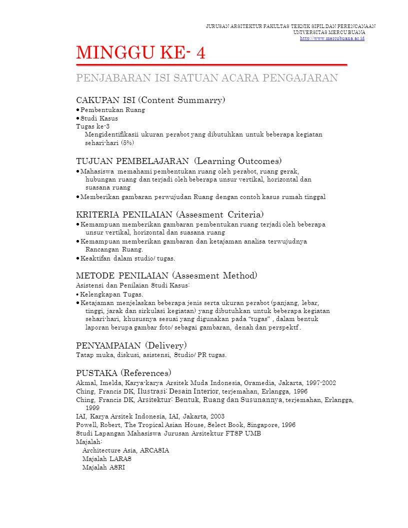 JURUSAN ARSITEKTUR FAKULTAS TEKNIK SIPIL DAN PERENCANAAN UNIVERSITAS MERCU BUANA http://www.mercubuana.ac.id MINGGU KE- 4 PENJABARAN ISI SATUAN ACARA