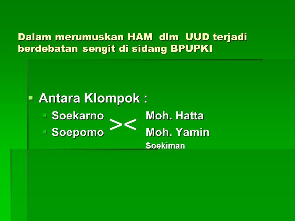 Dalam merumuskan HAM dlm UUD terjadi berdebatan sengit di sidang BPUPKI  Antara Klompok :  Soekarno Moh.
