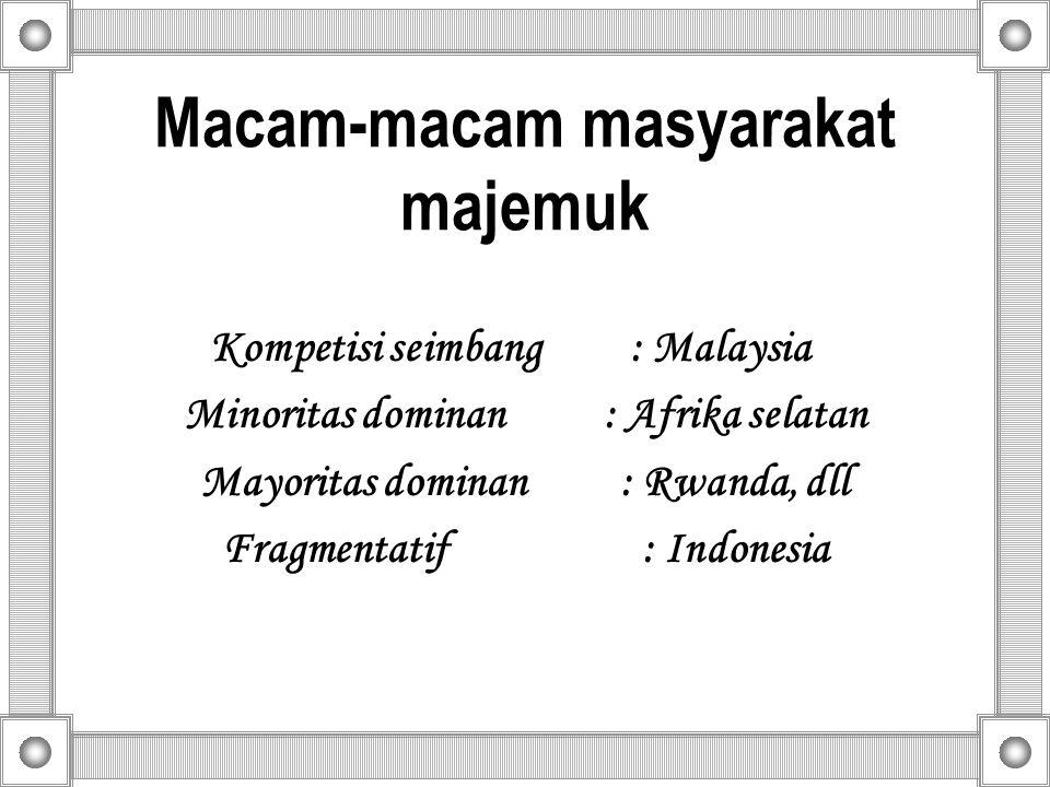 Macam-macam masyarakat majemuk Kompetisi seimbang: Malaysia Minoritas dominan: Afrika selatan Mayoritas dominan: Rwanda, dll Fragmentatif: Indonesia