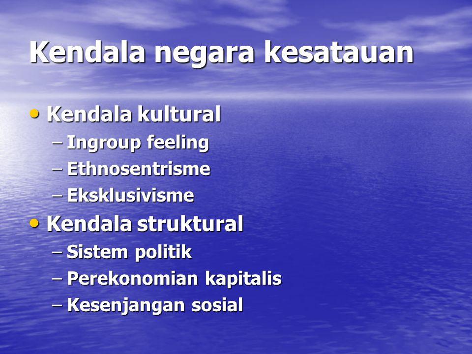 Kendala negara kesatauan Kendala kultural Kendala kultural –Ingroup feeling –Ethnosentrisme –Eksklusivisme Kendala struktural Kendala struktural –Sistem politik –Perekonomian kapitalis –Kesenjangan sosial