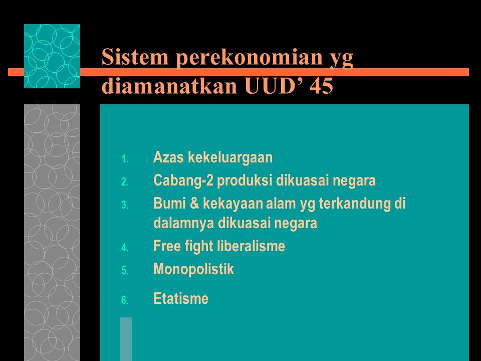 Sistem perekonomian yg diamanatkan UUD' 45 1. Azas kekeluargaan 2.