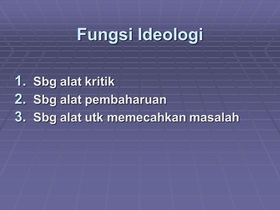 Fungsi Ideologi 1. Sbg alat kritik 2. Sbg alat pembaharuan 3. Sbg alat utk memecahkan masalah