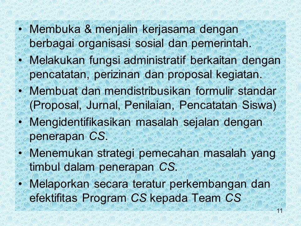 Membuka & menjalin kerjasama dengan berbagai organisasi sosial dan pemerintah.