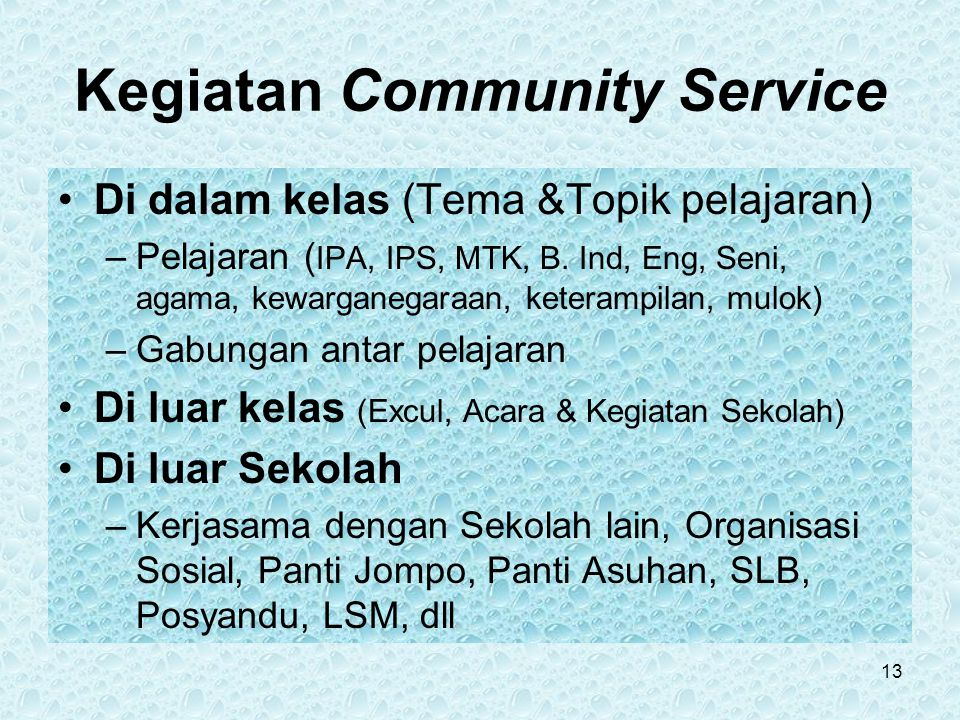 Kegiatan Community Service Di dalam kelas (Tema &Topik pelajaran) –Pelajaran ( IPA, IPS, MTK, B.