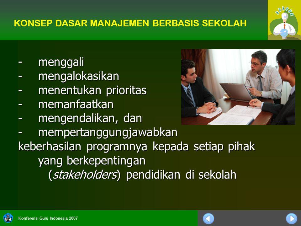 Konferensi Guru Indonesia 2007 -menggali -mengalokasikan -menentukan prioritas -memanfaatkan -mengendalikan, dan -mempertanggungjawabkan keberhasilan