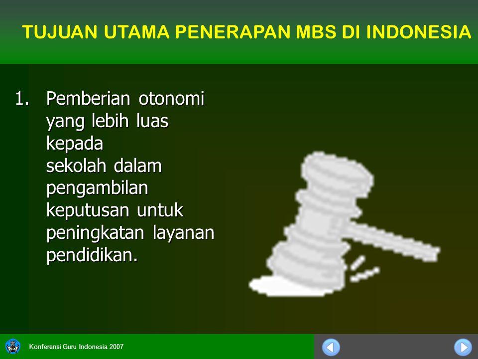 Konferensi Guru Indonesia 2007 1.Pemberian otonomi yang lebih luas kepada sekolah dalam pengambilan keputusan untuk peningkatan layanan pendidikan. TU