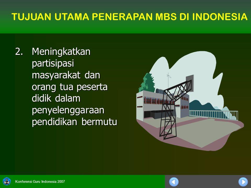 Konferensi Guru Indonesia 2007 2.Meningkatkan partisipasi masyarakat dan orang tua peserta didik dalam penyelenggaraan pendidikan bermutu TUJUAN UTAMA