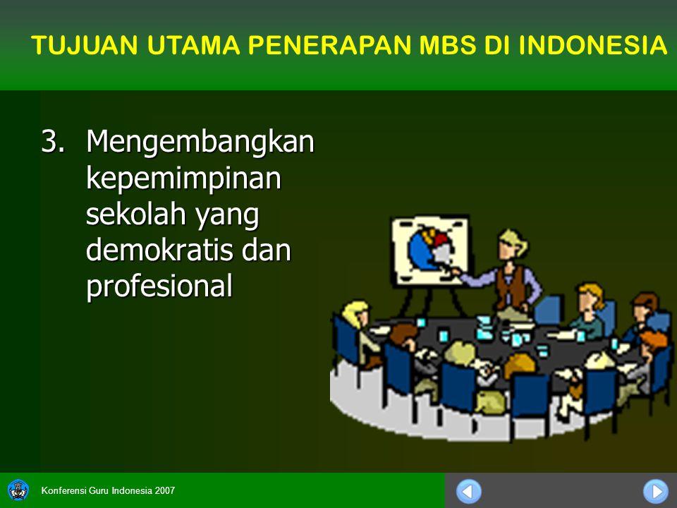Konferensi Guru Indonesia 2007 3.Mengembangkan kepemimpinan sekolah yang demokratis dan profesional TUJUAN UTAMA PENERAPAN MBS DI INDONESIA