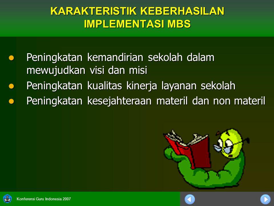 Konferensi Guru Indonesia 2007 Peningkatan kemandirian sekolah dalam mewujudkan visi dan misi Peningkatan kemandirian sekolah dalam mewujudkan visi da