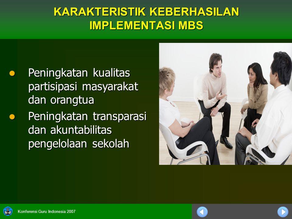 Konferensi Guru Indonesia 2007 Peningkatan kualitas partisipasi masyarakat dan orangtua Peningkatan kualitas partisipasi masyarakat dan orangtua Penin