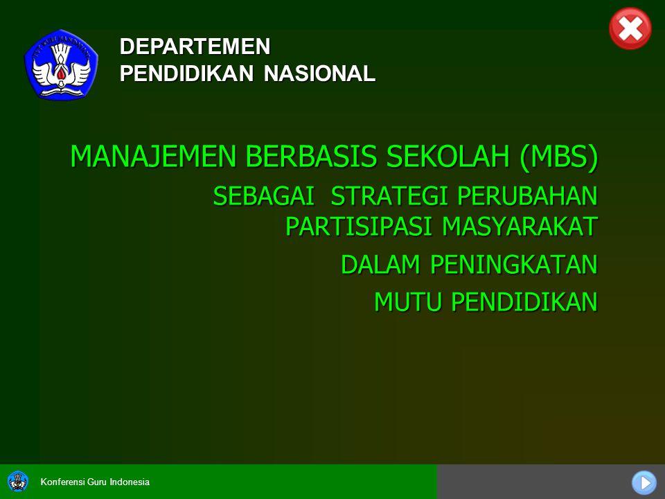 Konferensi Guru Indonesia MANAJEMEN BERBASIS SEKOLAH (MBS) SEBAGAI STRATEGI PERUBAHAN PARTISIPASI MASYARAKAT SEBAGAI STRATEGI PERUBAHAN PARTISIPASI MA