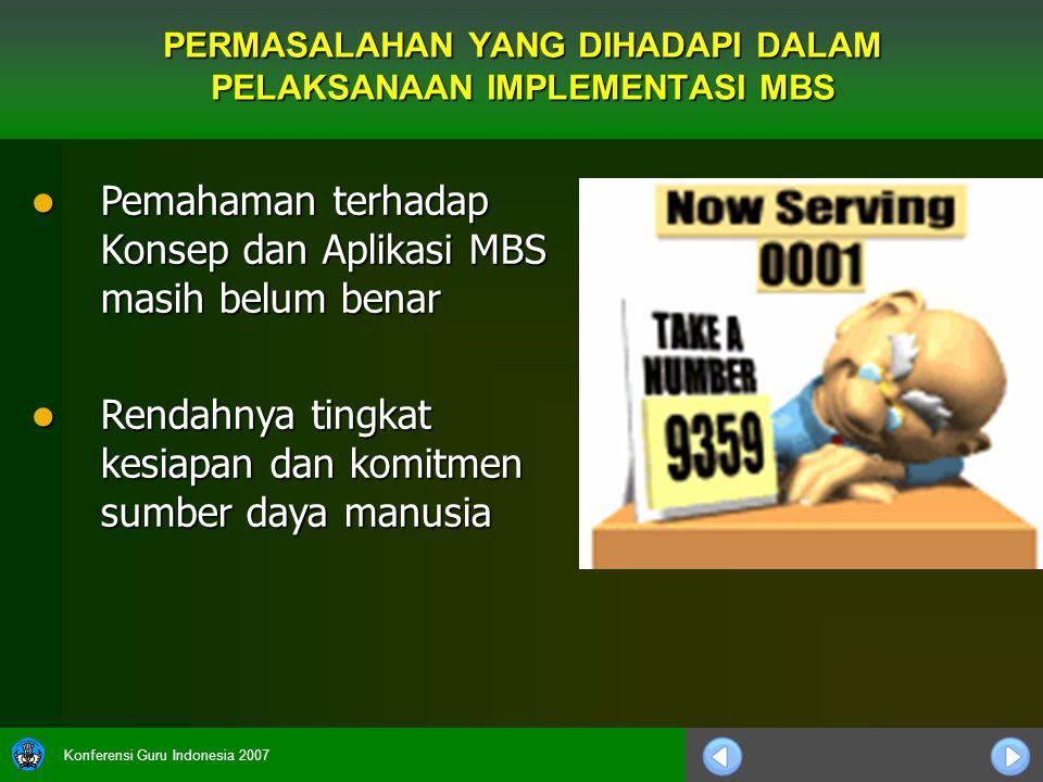 Konferensi Guru Indonesia 2007 Pemahaman terhadap Konsep dan Aplikasi MBS masih belum benar Pemahaman terhadap Konsep dan Aplikasi MBS masih belum ben