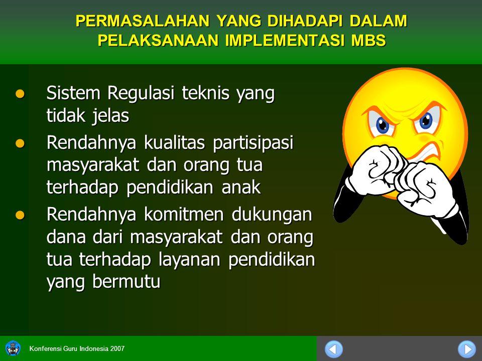 Konferensi Guru Indonesia 2007 Sistem Regulasi teknis yang tidak jelas Sistem Regulasi teknis yang tidak jelas Rendahnya kualitas partisipasi masyarak