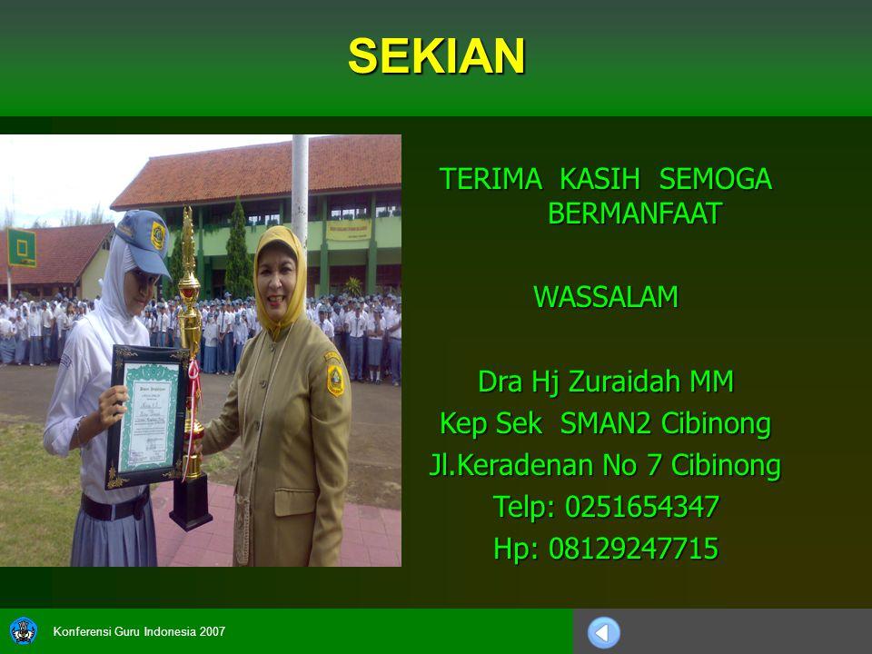 Konferensi Guru Indonesia 2007 TERIMA KASIH SEMOGA BERMANFAAT WASSALAM Dra Hj Zuraidah MM Kep Sek SMAN2 Cibinong Jl.Keradenan No 7 Cibinong Telp: 0251