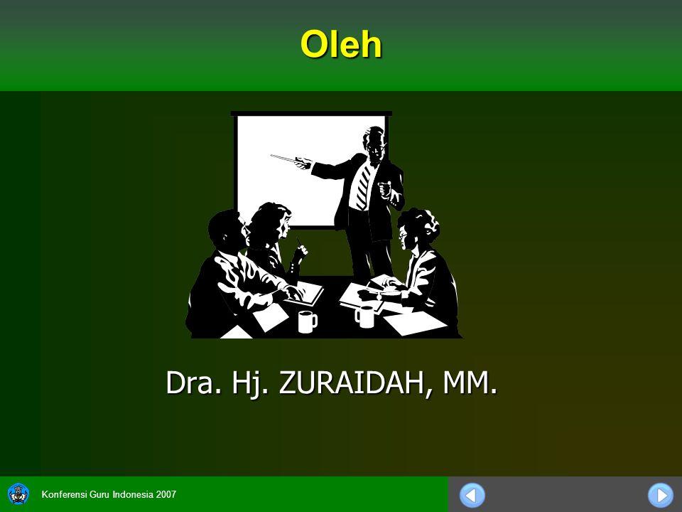 Konferensi Guru Indonesia 2007 Dra. Hj. ZURAIDAH, MM. Oleh