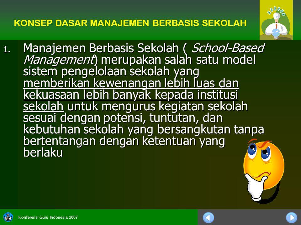 Konferensi Guru Indonesia 2007 1. Manajemen Berbasis Sekolah ( School-Based Management) merupakan salah satu model sistem pengelolaan sekolah yang mem