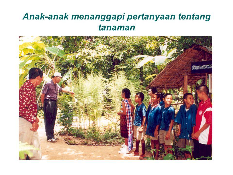 Anak-anak menanggapi pertanyaan tentang tanaman
