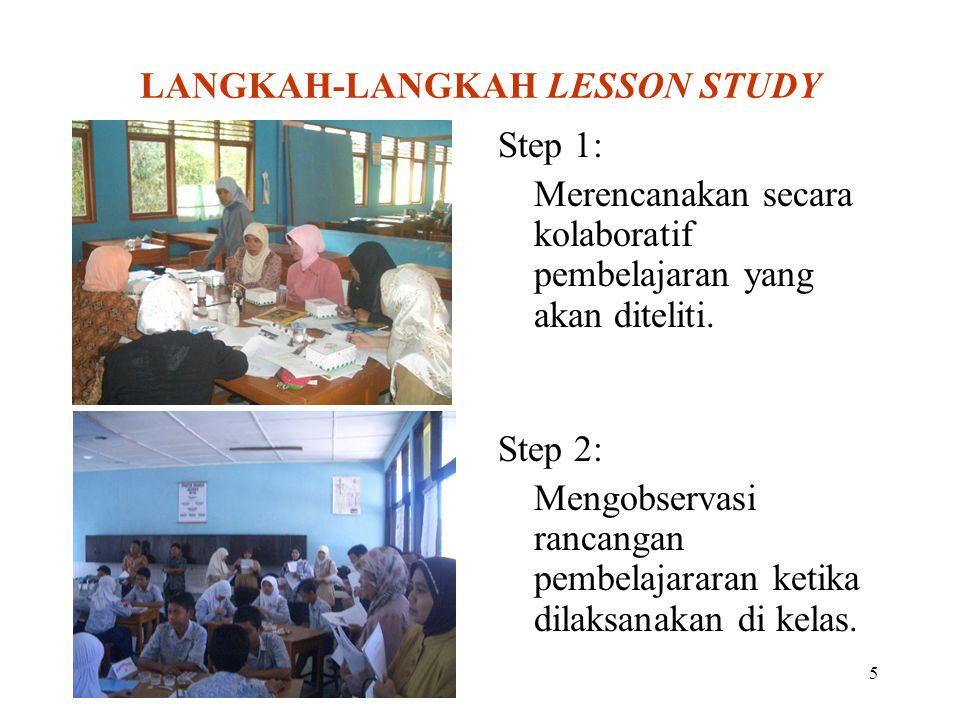 5 LANGKAH-LANGKAH LESSON STUDY Step 1: Merencanakan secara kolaboratif pembelajaran yang akan diteliti. Step 2: Mengobservasi rancangan pembelajararan