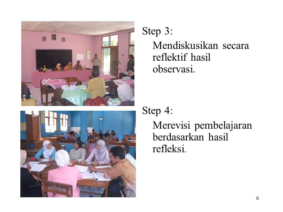 6 Step 3: Mendiskusikan secara reflektif hasil observasi. Step 4: Merevisi pembelajaran berdasarkan hasil refleksi.