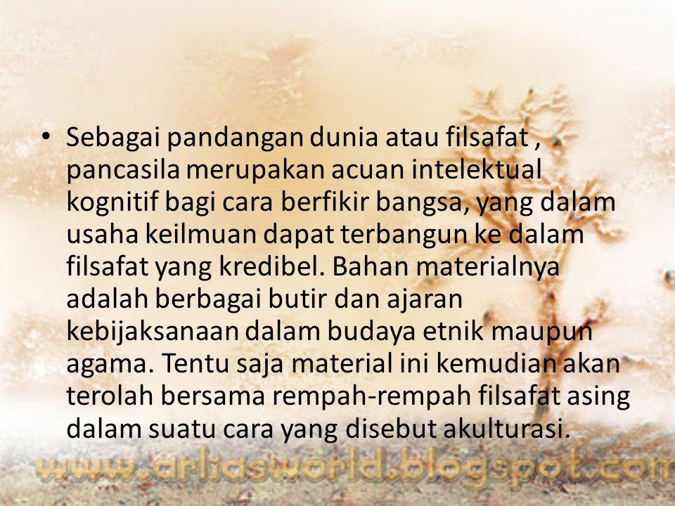 Pandangan Sukarno Pancasila berpangkal pada dasar pikiran kekeluargaan atau gotong royong, dan membuang individualism.