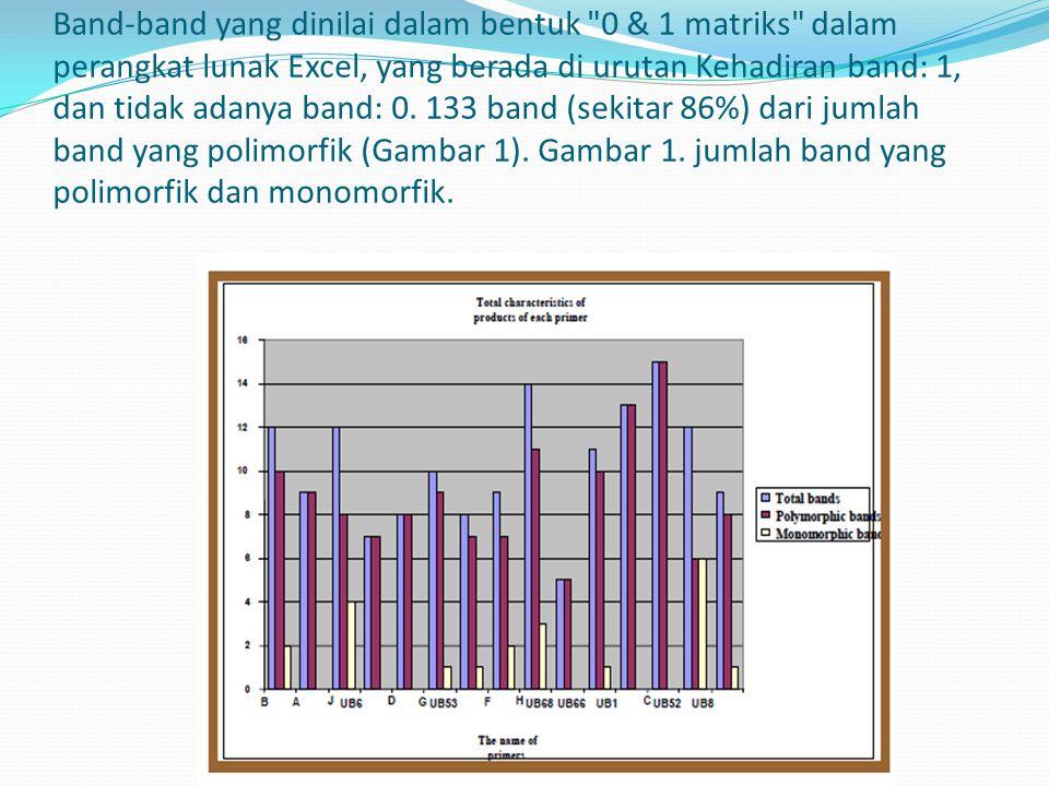 Band-band yang dinilai dalam bentuk 0 & 1 matriks dalam perangkat lunak Excel, yang berada di urutan Kehadiran band: 1, dan tidak adanya band: 0.