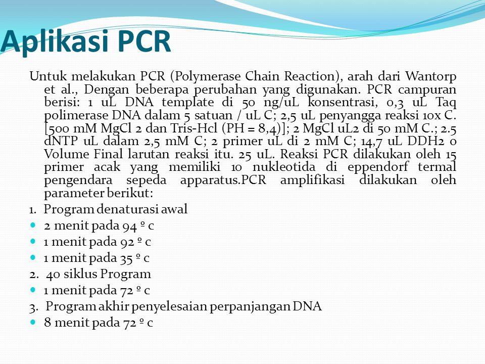 Aplikasi PCR Untuk melakukan PCR (Polymerase Chain Reaction), arah dari Wantorp et al., Dengan beberapa perubahan yang digunakan. PCR campuran berisi: