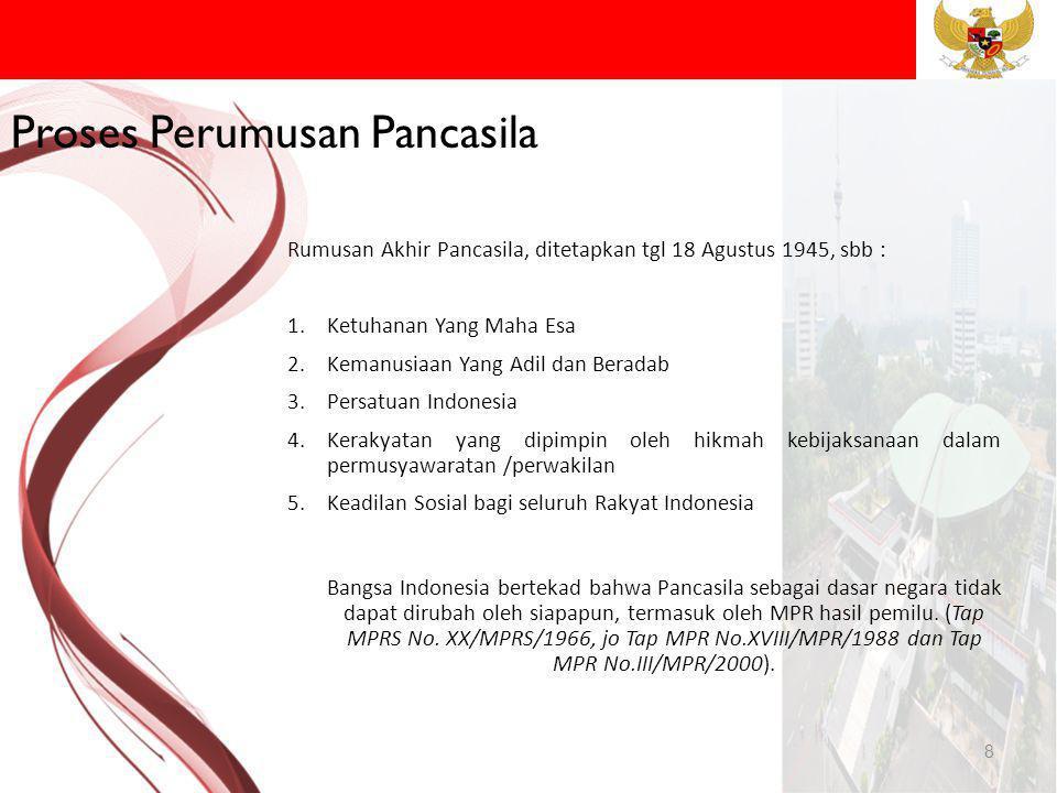 9 PANCASILA: 1.Ketuhanan Yang Maha Esa 2.Kemanusiaan Yang Adil dan Beradab 3.Persatuan Indonesia 4.Kerakyatan Yang Dipimpin oleh Hikmat Kebijaksanaan dalam Permusyawaratan/Perwakilan 5.Keadilan Sosial Bagi Seluruh Rakyat Indonesia Pancasila