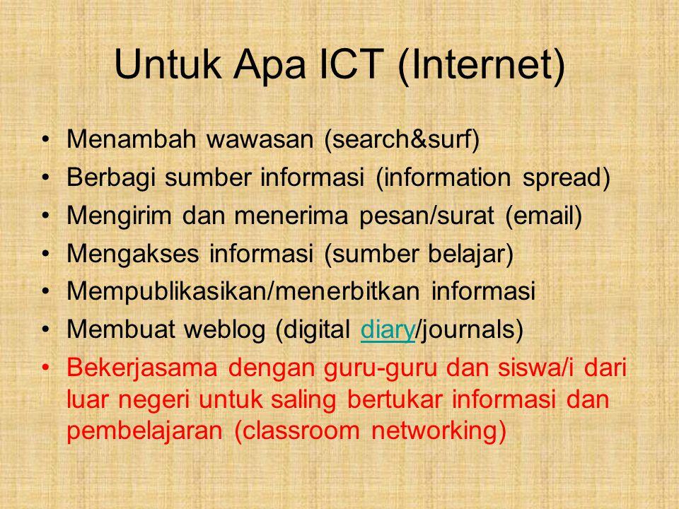 Untuk Apa ICT (Internet) Menambah wawasan (search&surf) Berbagi sumber informasi (information spread) Mengirim dan menerima pesan/surat (email) Mengak