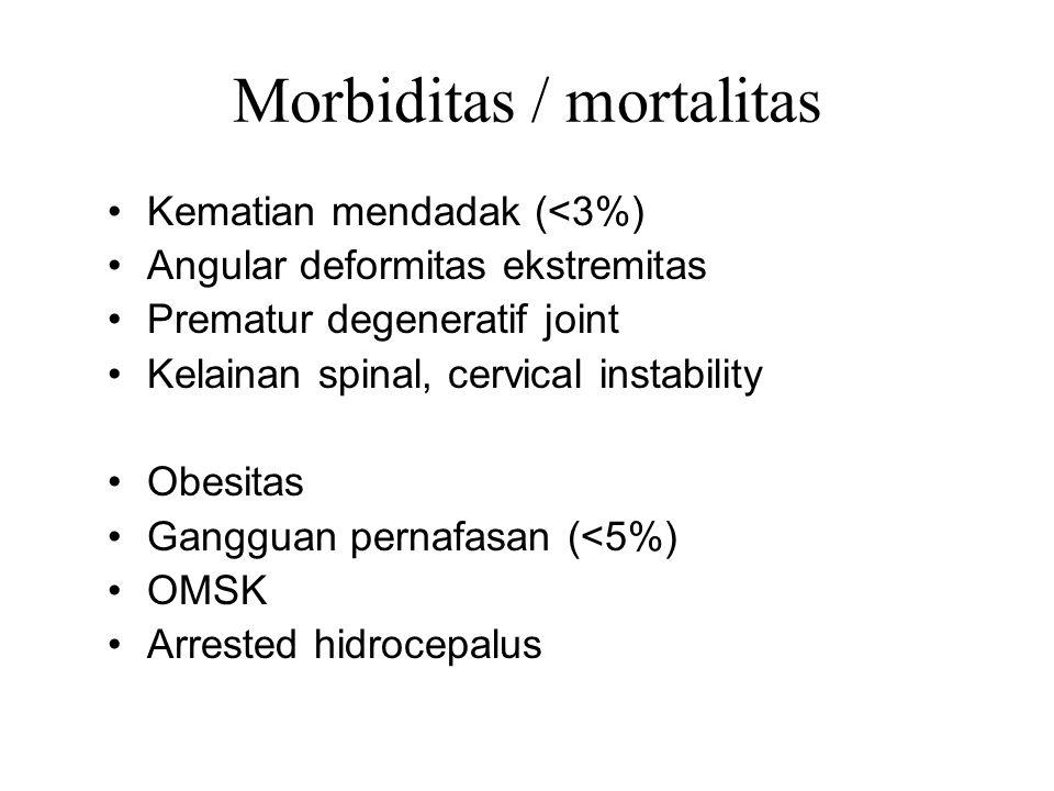 Morbiditas / mortalitas Kematian mendadak (<3%) Angular deformitas ekstremitas Prematur degeneratif joint Kelainan spinal, cervical instability Obesit
